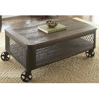Modern Brown Lift Top Coffee Table with Wheels - Barrow