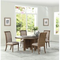 White Oak 5 Piece Round Dining Set - Austin