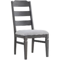 Pewter Brown Ladder Back Upholstered Dining Chair - Foundry