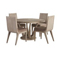 Frosted Ash Round 5 Piece Dining Set - Alexandra