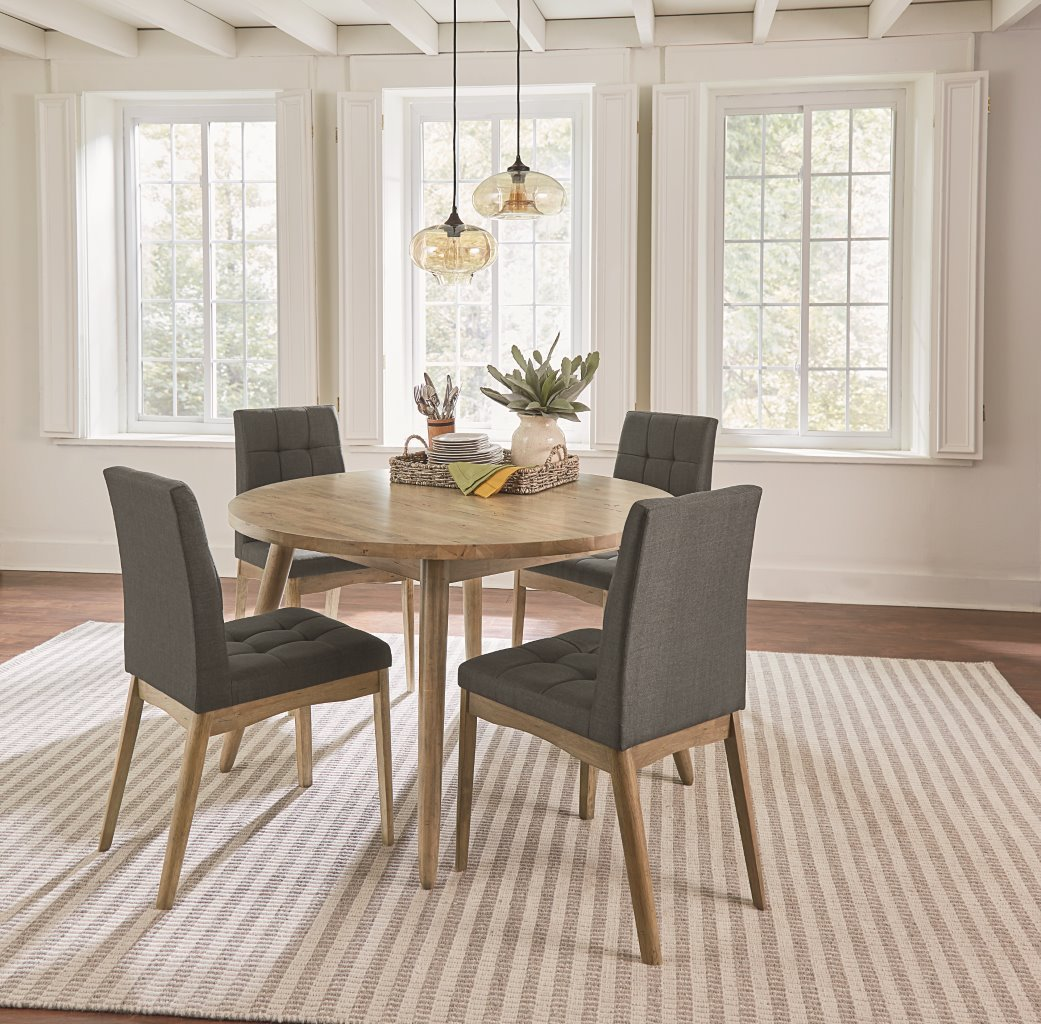MidCentury Modern Oak Gray 5 Piece Round Dining Set Barcelona