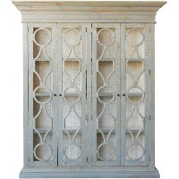FSI-ALV-842BKS/CABNT Traditional Distressed Gray and White Cabinet - Merchant