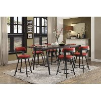 Retro Red 5 Piece Counter Height Dining Set - Appert
