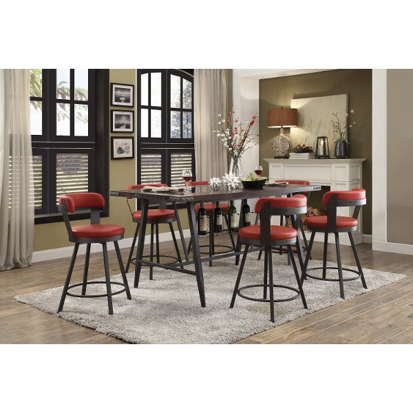 Retro Red 5 Piece Counter Height Dining Set