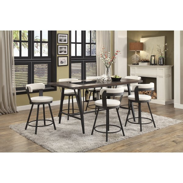 ... Bright White 5 Piece Counter Height Dining Set   Appert