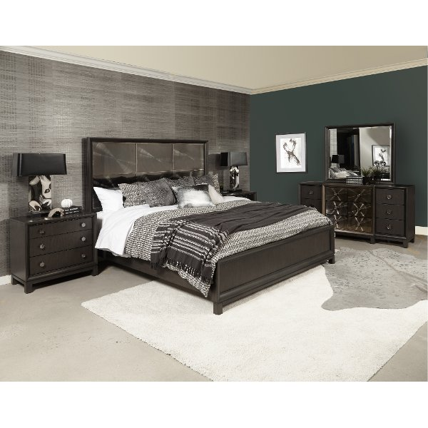 Clearance Contemporary Black Nickel 4 Piece California King Bedroom Set Radiance E