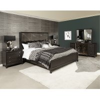 Contemporary Black Nickel 4 Piece California King Bedroom Set - Radiance Space