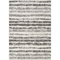 7 x 10 Large White and Grey Striped Area Rug - Focus