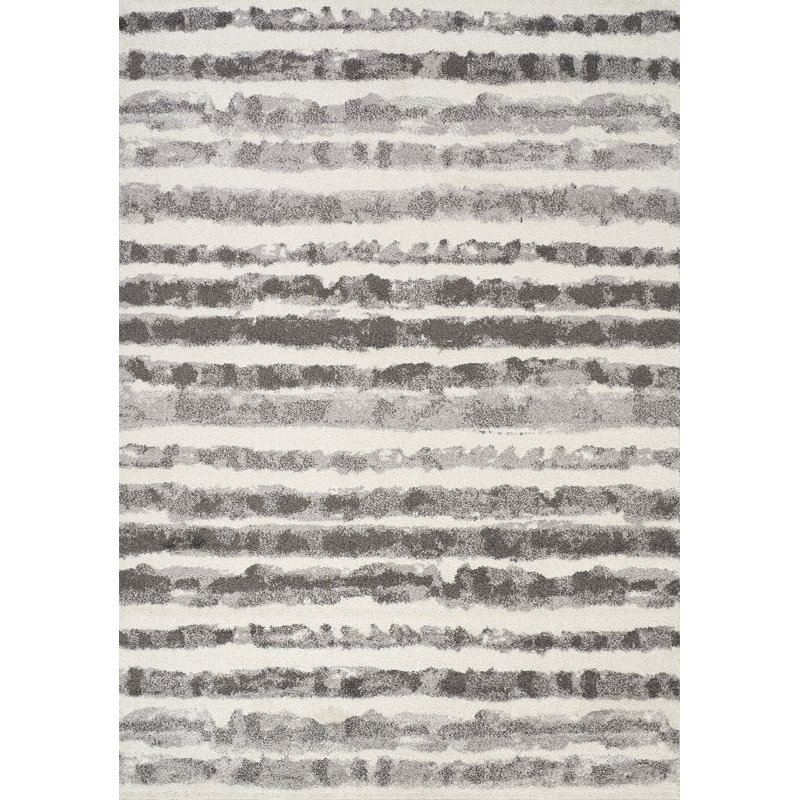 7 X 10 Large White And Grey Striped Area Rug Focus