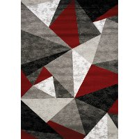 8 x 11 Large Gray, Red and White Area Rug - Platinum