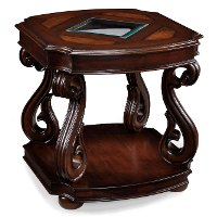 Traditional Italian Brown End Table - Harcourt