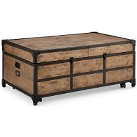Vintage Brown Expandable Coffee Table with Storage - Maguire