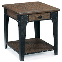 Rugged and Rustic Brown End Table with Drawer - Lakehurst