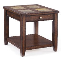 Antique Brown End Table - Allister