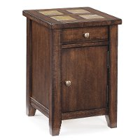 Antique Narrow Brown End Table - Allister