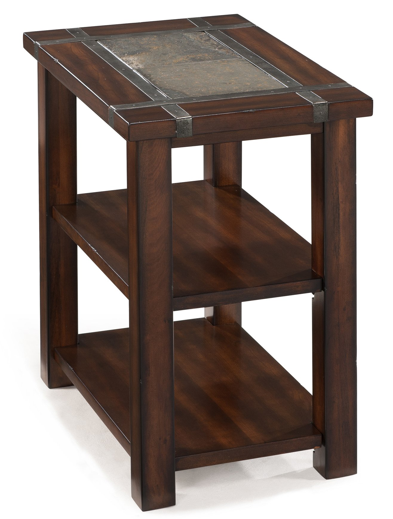 Slate and cherry brown small end table roanoke rc willey furniture store