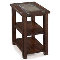 Slate and Cherry Brown Small End Table - Roanoke
