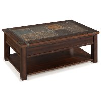 Slate and Cherry Brown Lift Top Coffee Table - Roanoke