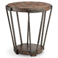 Antique Rustic Brown Round End Table - Yukon