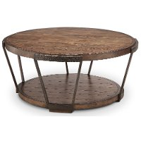 Antique Rustic Brown Round Coffee Table - Yukon