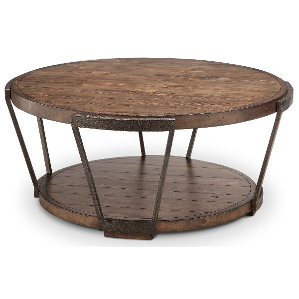 Antique Rustic Brown Round Coffee Table Yukon