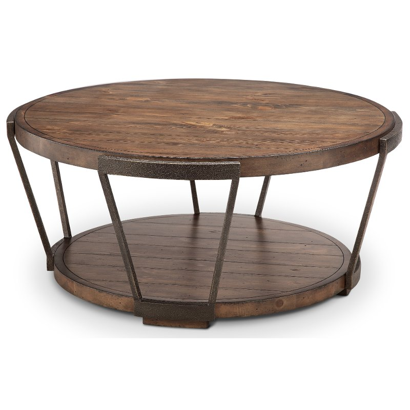 Antique Rustic Brown Round Coffee Table