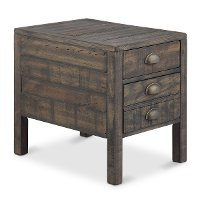 Aged and Distressed Brown End Table - Vernon