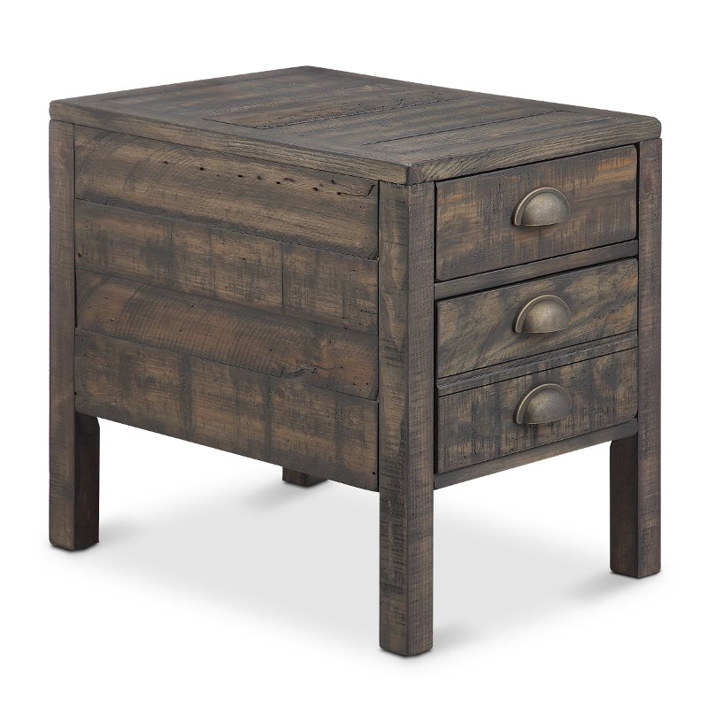 aged and distressed brown end table vernon - Distressed End Tables