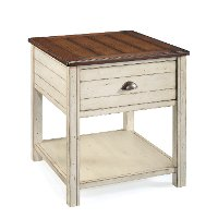 Distressed White and Brown Coffee Table - Bellhaven