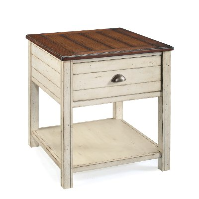 Distressed White And Brown Coffee Table   Bellhaven