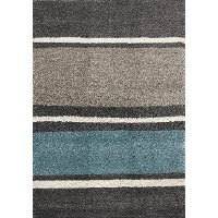 8 x 11 X-Large Striped Gray, Taupe and Teal Blue Rug - Maroq