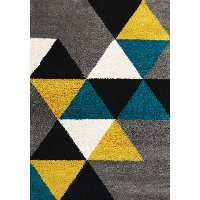 8 x 11 Large Geometric Gray, Yellow and Teal Blue Rug - Maroq