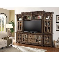 Two Tone Brown 4 Piece Antique Entertainment Center - Vintage