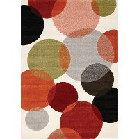 5 x 8 Medium White and Multi-Colored Geometric Area Rug - Safi