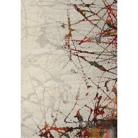 8 x 11 Large Geometric Cream and Red Area Rug - Safi