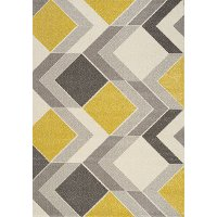 5 x 8 Medium Geometric Gray, Cream and Yellow Area Rug - Safi