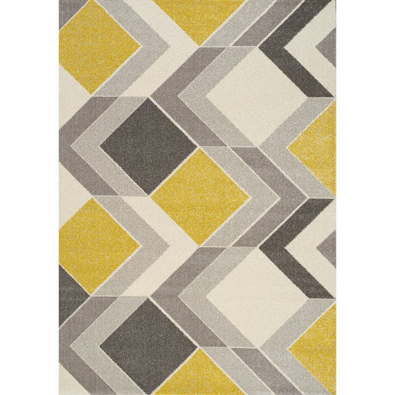 5 X 8 Medium Geometric Gray Cream And Yellow Area Rug Safi