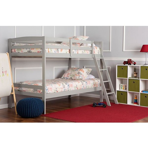 ... Gray Twin Over Twin Bunk Bed   Taylor