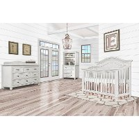 860-AM Antique Gray 5-in-1 Curved Top Convertible Crib - Madison