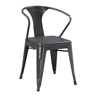 Gunmetal Gray Metal Dining Room Chair - Dakota