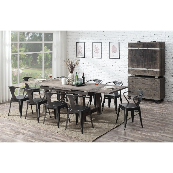 Clearance Reclaimed Pine 5 Piece Dining Room Set With Metal Chairs Dakota