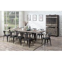 Reclaimed Pine 5 Piece Dining Room Set with Metal Chairs - Dakota