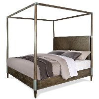 Modern Carbon Gray King Canopy Bed - Joelle