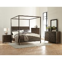Modern Carbon Gray 4 Piece Queen Bedroom Set - Joelle