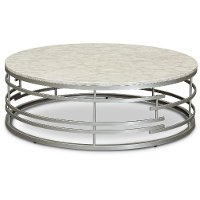 Round Marble and Silver Large Coffee Table - Brassica