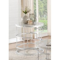 Round Marble and Silver End Table - Brassica