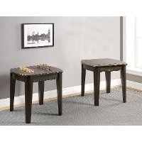 Dark Walnut Brown End Table with Reversible Tabletop - Diletta