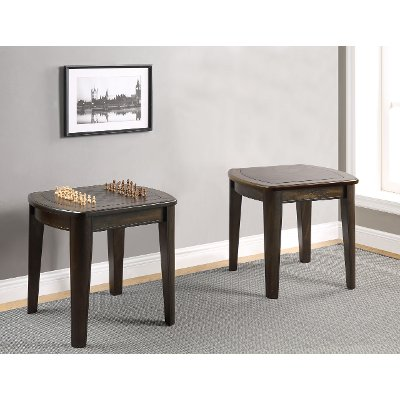 Dark Walnut Brown Coffee Table With Foosball Diletta RC Willey - Foosball coffee table with stools