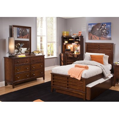 Classic Brown 6 Piece Twin Bedroom Set - Chelsea Square | RC ...