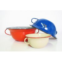 Assorted Metal Enamel Bowl With Handles